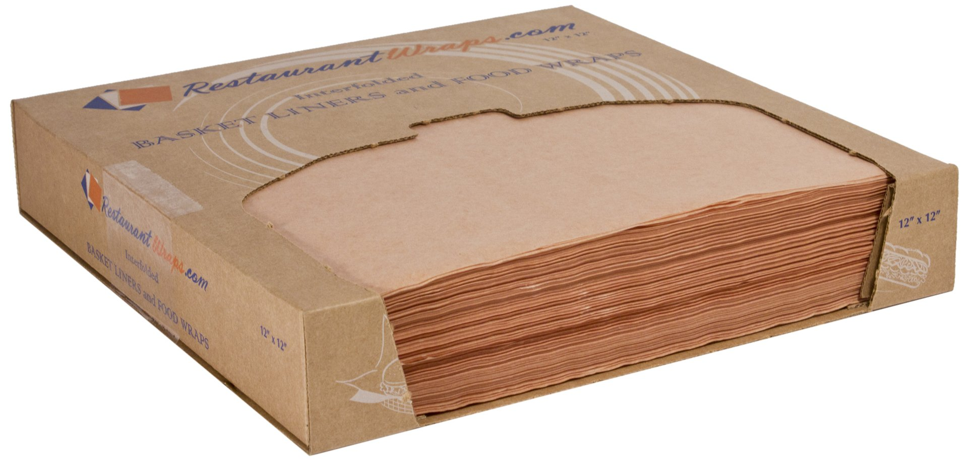 RestaurantWraps.com Waxed Sheets, Basket Liner and Food Wrap, 12'' x 12'', Caramel (6 Packs of 1000 Sheets)