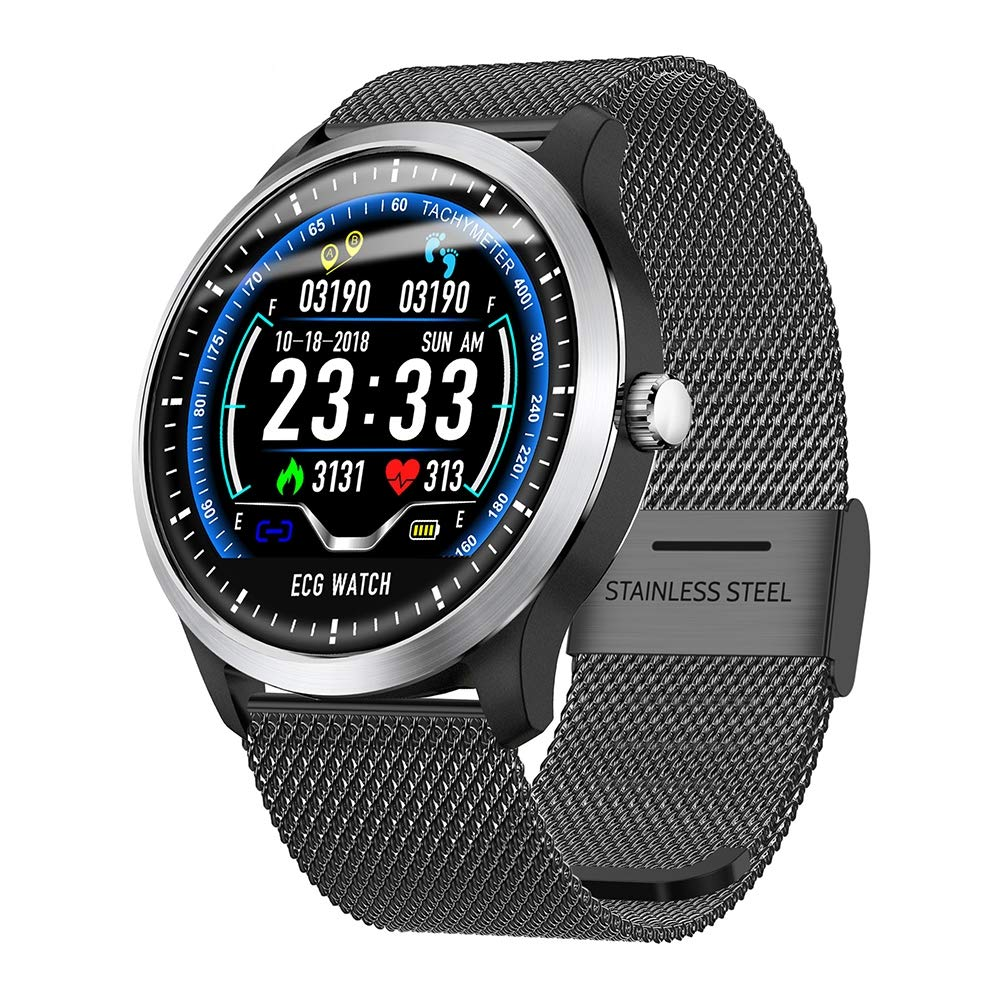OOLIFENG IP67 Waterproof Smart Watch, Activity Tracker Watch and Blood Pressure + Heart Rate Monitor, Fitness Tracker Wristband with Pedometer for iPhone Android,BlackSteelBelt