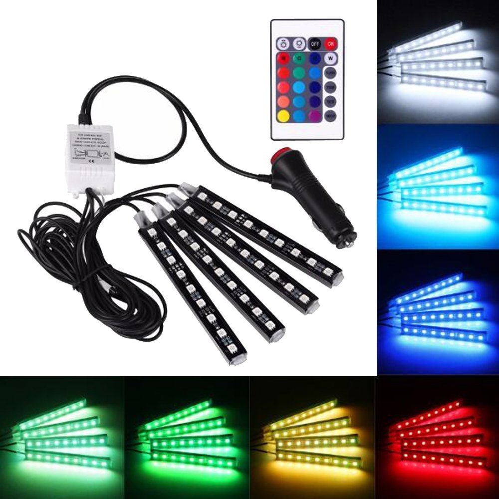 FENGSHUN Car Interior Light, 4-Pcs 36 LEDs Car Interior Underdash Lighting Kit RGB Multi-color Neon Strip Lights Auto Floor Atmosphere Lights With Wireless Remote Control and Car Charger