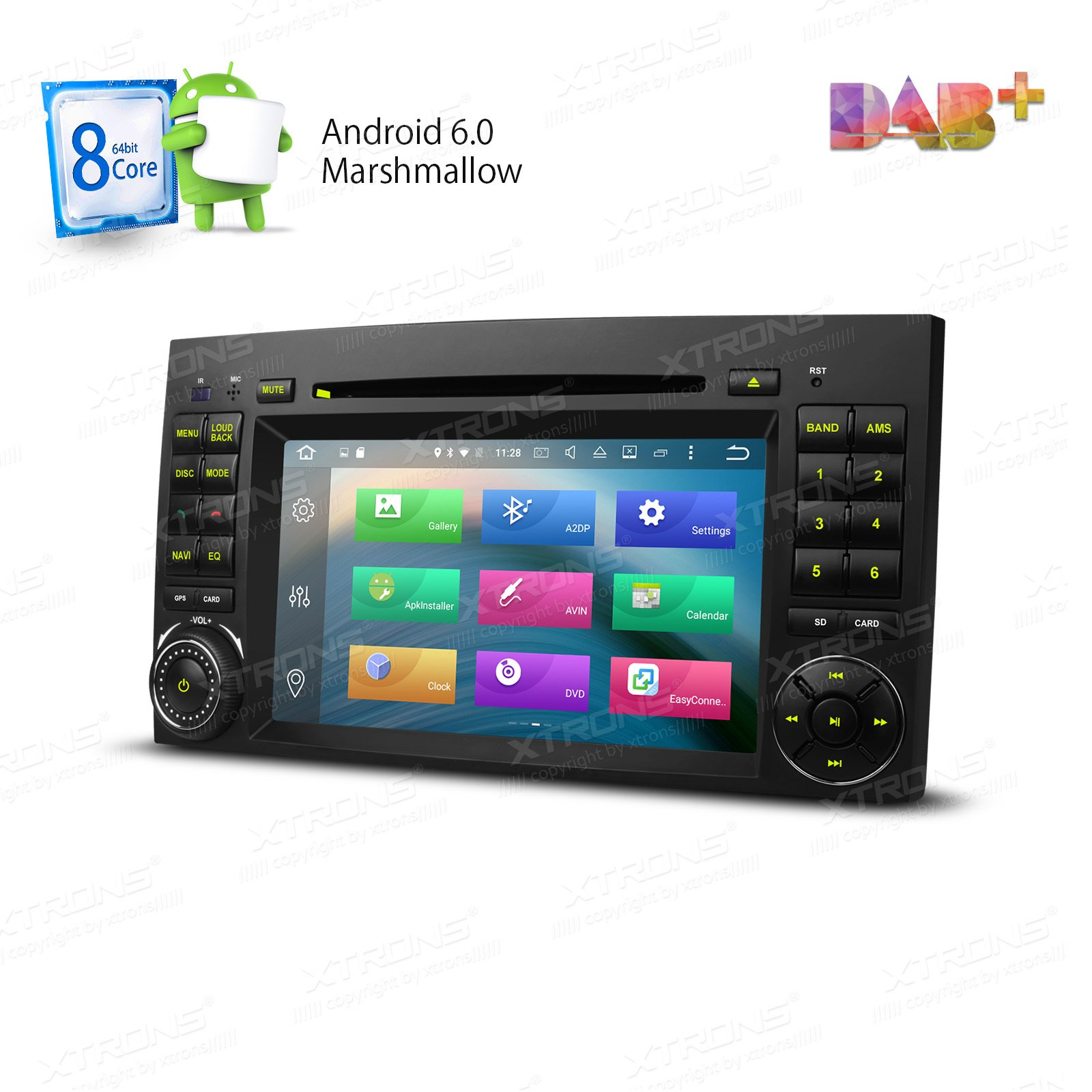 XTRONS Android 6.0 Octa-Core 64Bit 2G RAM 32GB ROM 7 Inch Capacitive Touch Screen Car Stereo Radio DVD Player GPS CANbus Screen Mirroring Function OBD2 Tire Pressure Monitoring for Mercedes-Benz