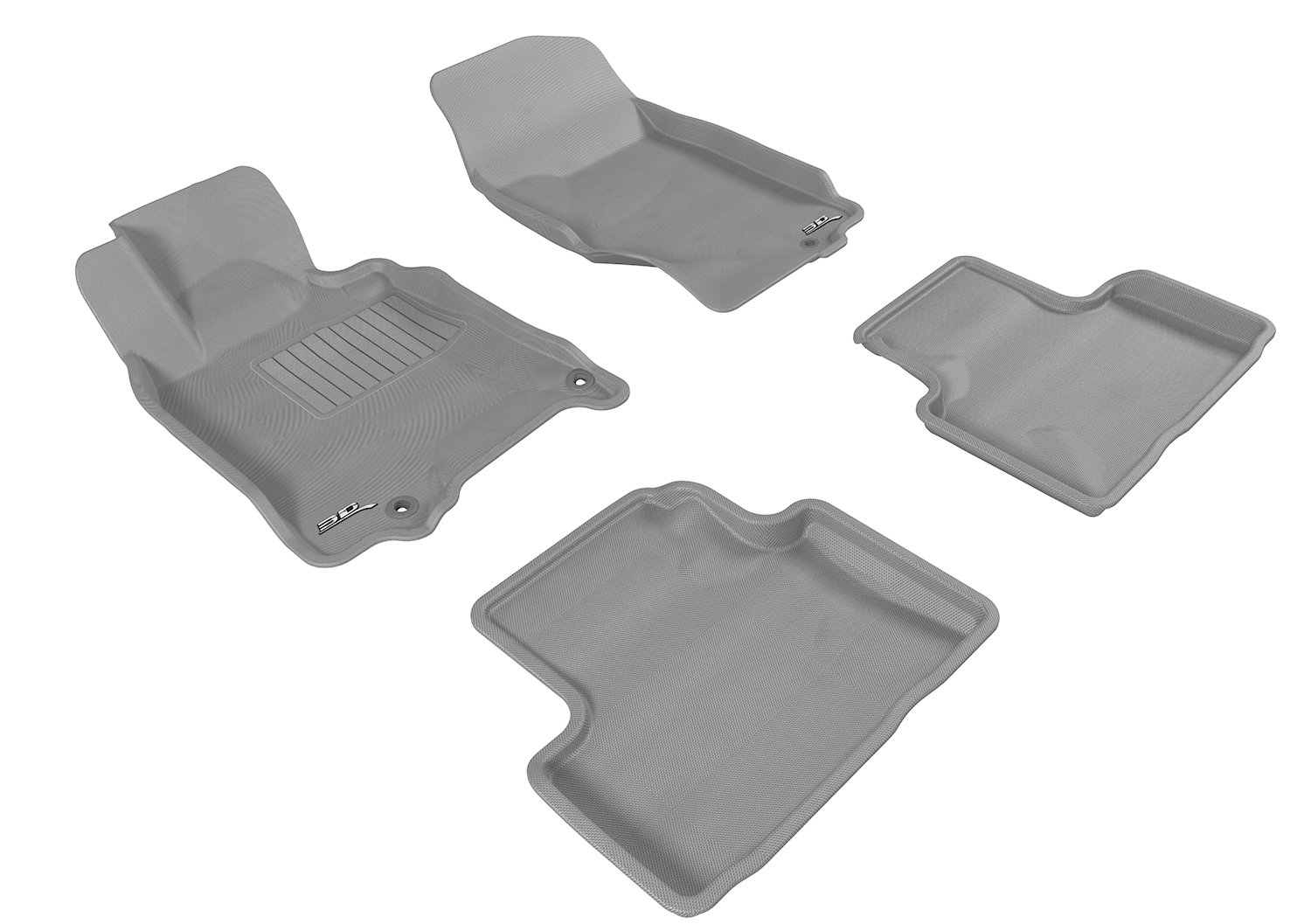Gray 3D MAXpider Second Row Custom Fit All-Weather Floor Mat for Select Infiniti G35//G37 Models Kagu Rubber