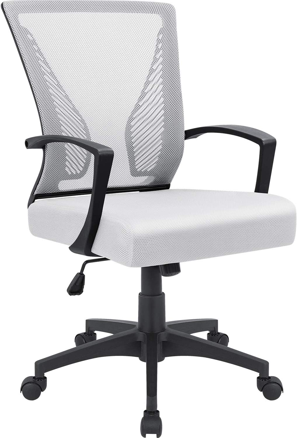 Furmax Office Chair Mid Back Swivel Lumbar Support Desk Chair, Computer Ergonomic Mesh Chair with Armrest (White)