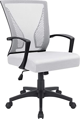 White Furmax Office Chair Mid Back Swivel Lumbar Support Desk Chair Computer Ergonomic Mesh Chair with Armrest