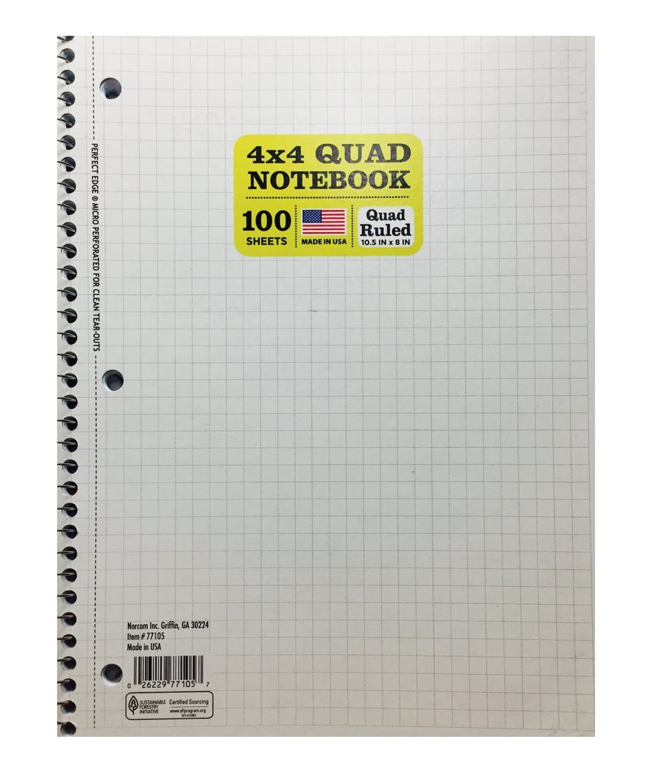 Norcom 77105-12 10.5'' X 8'' Quad Ruled Notebook Assorted Colors (Pack of 3)