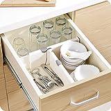 """Loti Houseware réglable Organiseur/extensible séparateurs de tiroir pour un encombrement gratuit de cuisine salle de bain Chambre à coucher Commode tiroirs–Blanc, Plastique, blanc, 4"""" * 15"""""""
