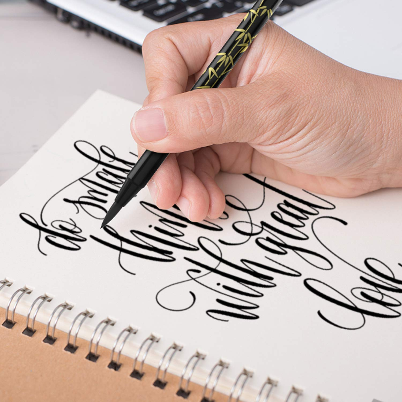 4Piezas Pluma de Caligraf/ía Japon/és Doble Punta Fina /& Suave Set Pinceles Negro para Letras Escritura Car/ácter Dibujo
