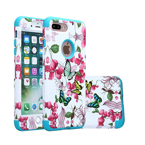 brand new 1d519 61295 iPhone 8 Plus Case, Harsel Floral Flowers Butterfly Hybrid Armor Soft  Rubber + Hard Plastic Heavy Duty Bumper High Impact Shockproof Durable Case  for ...