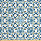Traditional House Decor Fabric by the Yard by Ambesonne, Tunisian Mosaic with Azulojo Spanish Influence Authentic Retro Islamic, Decorative Fabric for Upholstery and Home Accents, Blue