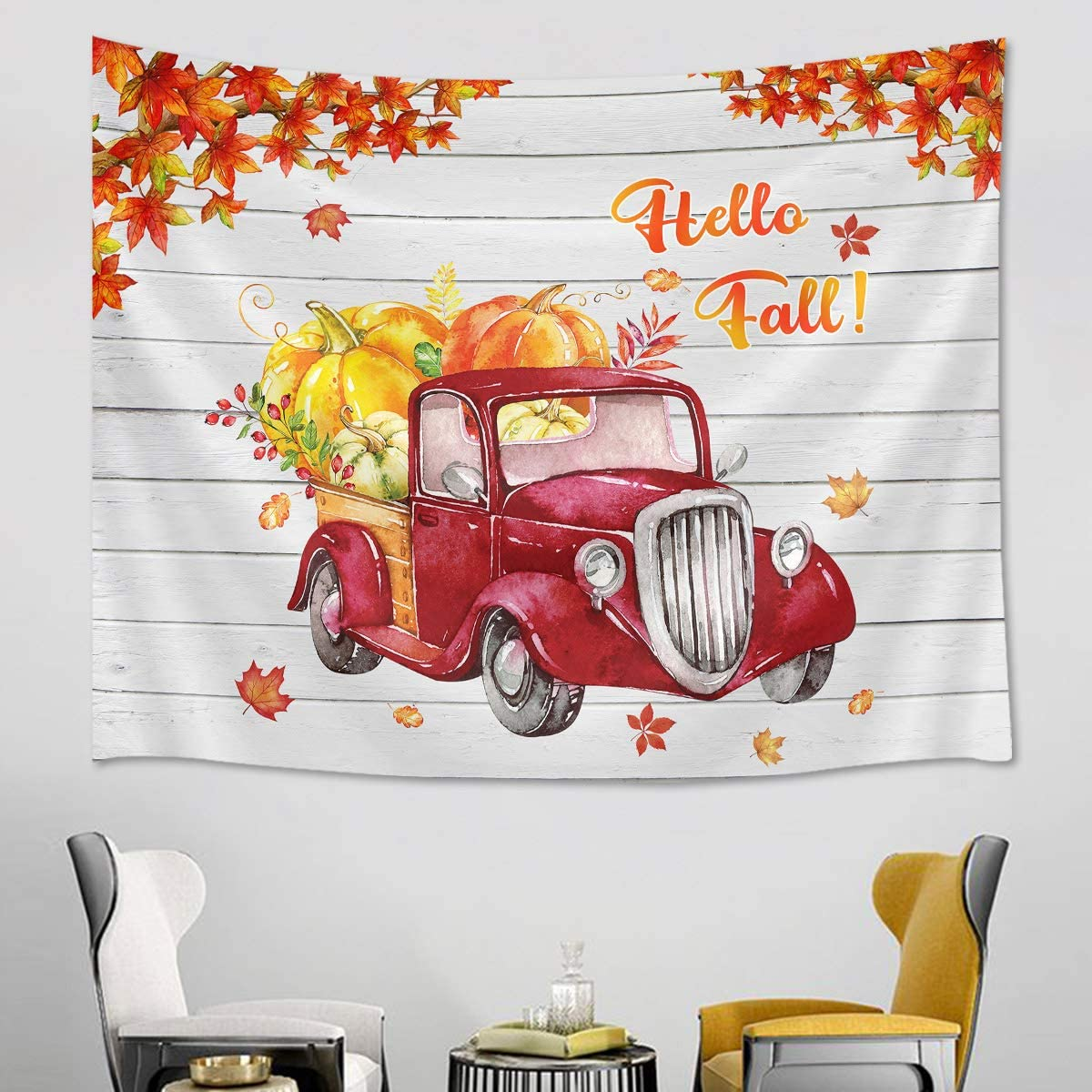 LB Fall Harvest Tapestry Autumn Maple Leaves with Red Truck Pulling Plump Pumpkin Farm Tapestries for Thansgiving Day for Bedroom Living Dining Room Dorm Decor 93 Wx72 L