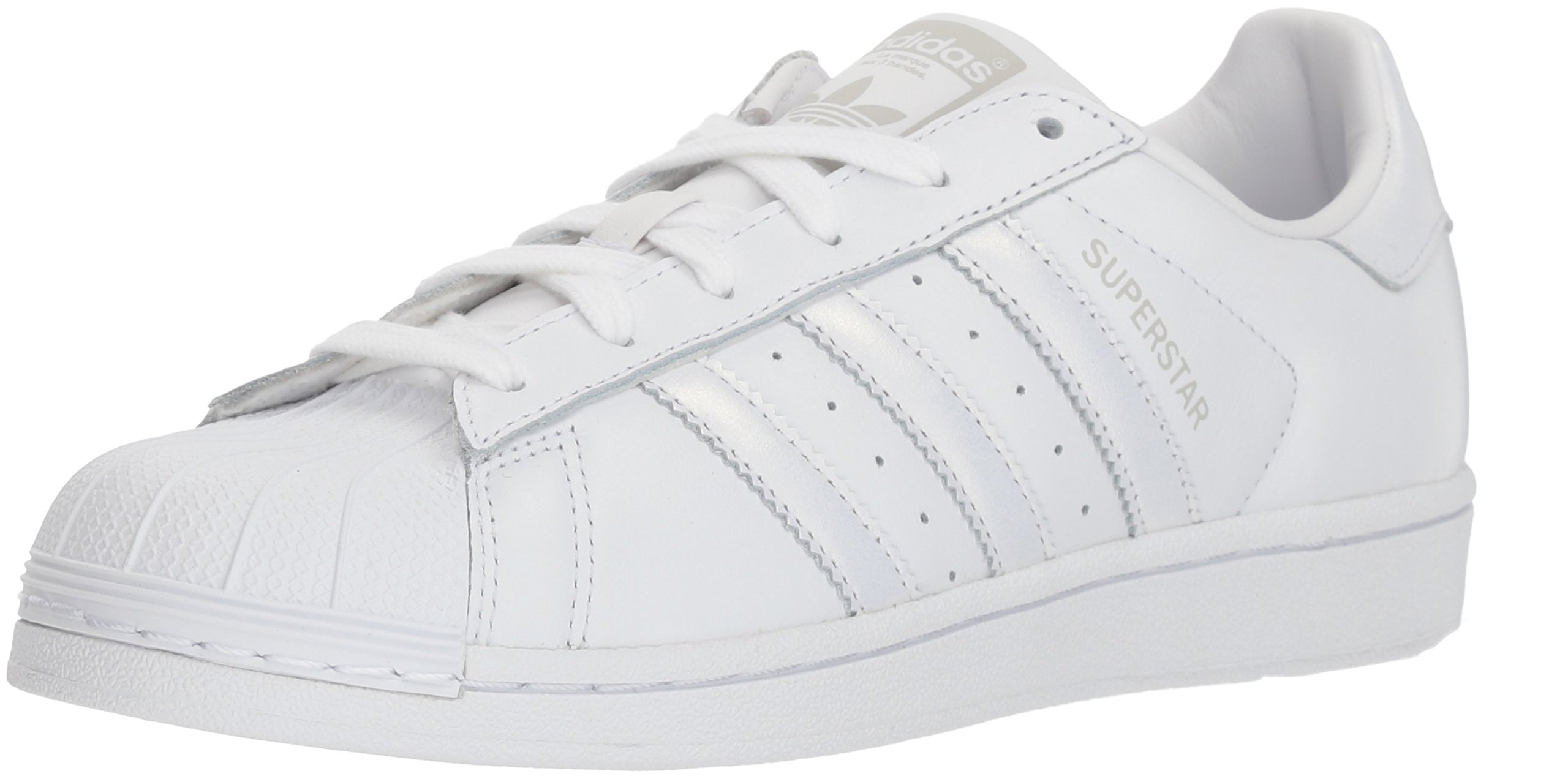 adidas Originals Women's Superstar Sneaker, White/White/Grey, 9 M US