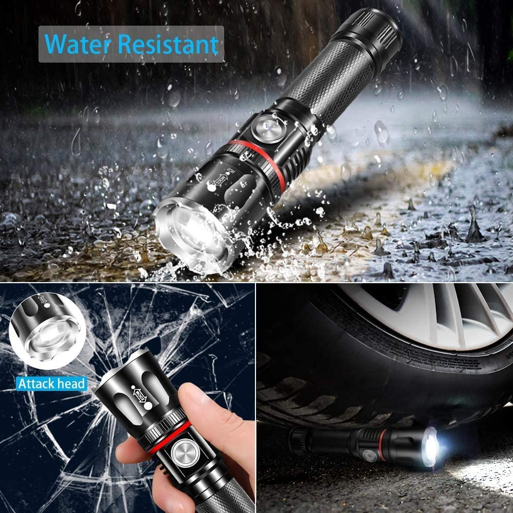 Flashlight Super Bright LED Handheld Rechargeable Spotlight 2600mAh 800 Lumen Long Lasting Work Light Zoomable 360/° COB Waterproof Tactical Torch 4 Light Modes for Camping Emergency Repairing