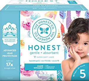 The Honest Company Club Box Diapers with TrueAbsorb Technology, Rose Blossom & Feathers, Size 5, 50 Count