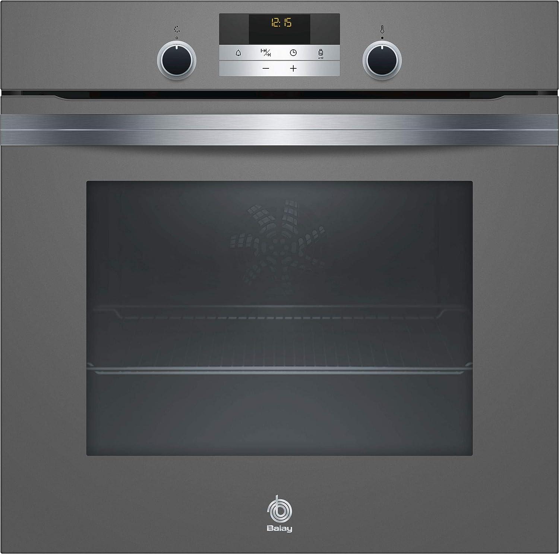 Balay Horno 3HB5358A0 Multifunción Aqualis, Gris Antracita, Serie Cristal, Comfort Plus, Auto Chef