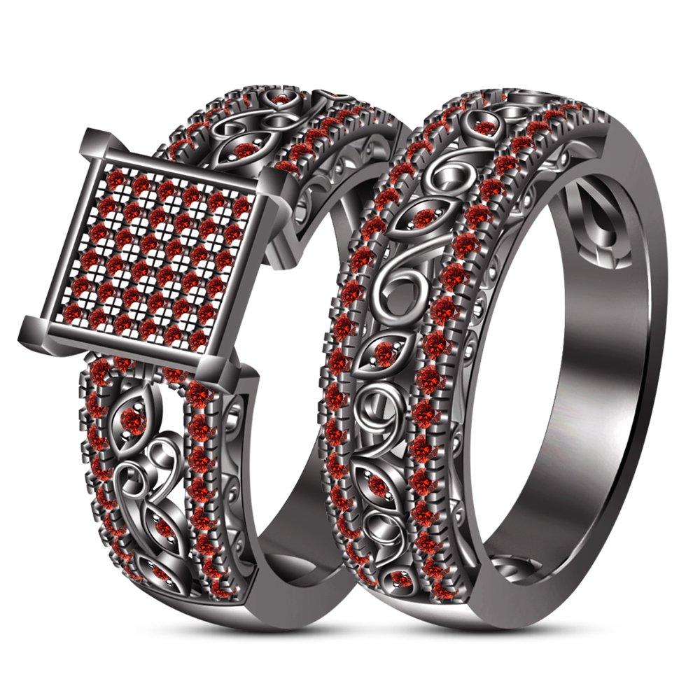 Reducción de precio Vorra Fashion Juego de anillos de compromiso para novia, corte redondo, color rojo