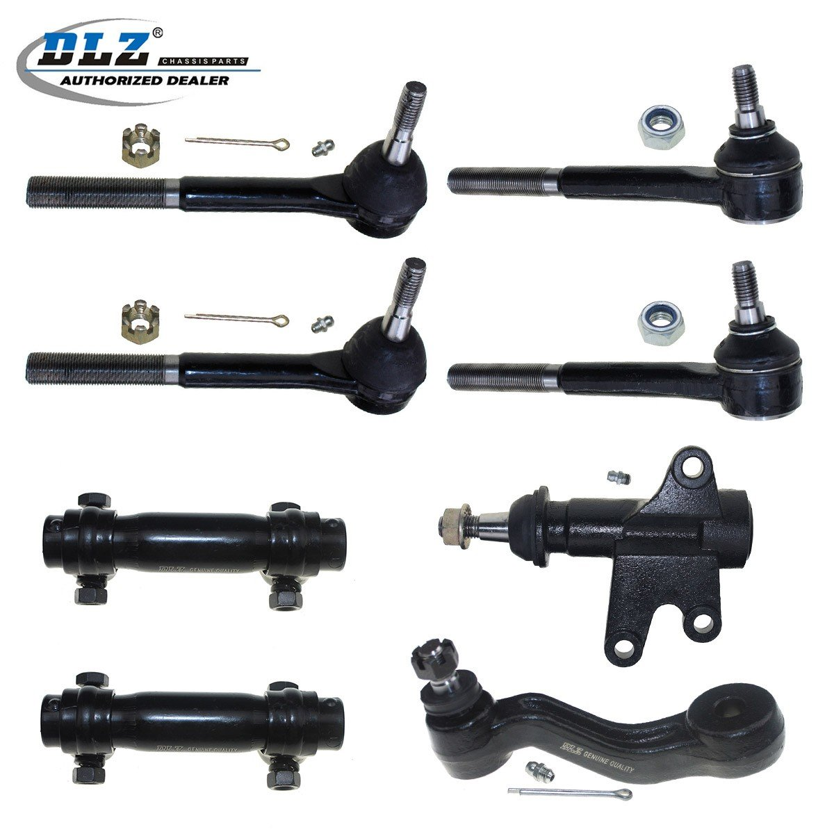 Suburban Chevrolet Blazer DLZ 8 Pcs Front Suspension Kit-2 Outer 2 Inner Tie Rod End 2 Adjusting Sleeve 1 Idler Arm 1 Bracket Assembly Compatible with Chevrolet GMC K1500 K2500 K3500 Tahoe Yukon