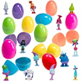 12 Jumbo 6-Inch Easter Eggs With Plastic Trolls Figurines - Assorted Colors and Characters from Dreamworks Hit Film Trolls - Ready To Fill, Hide and Hunt - Perfect For Egg Hunts Or As Party Favors