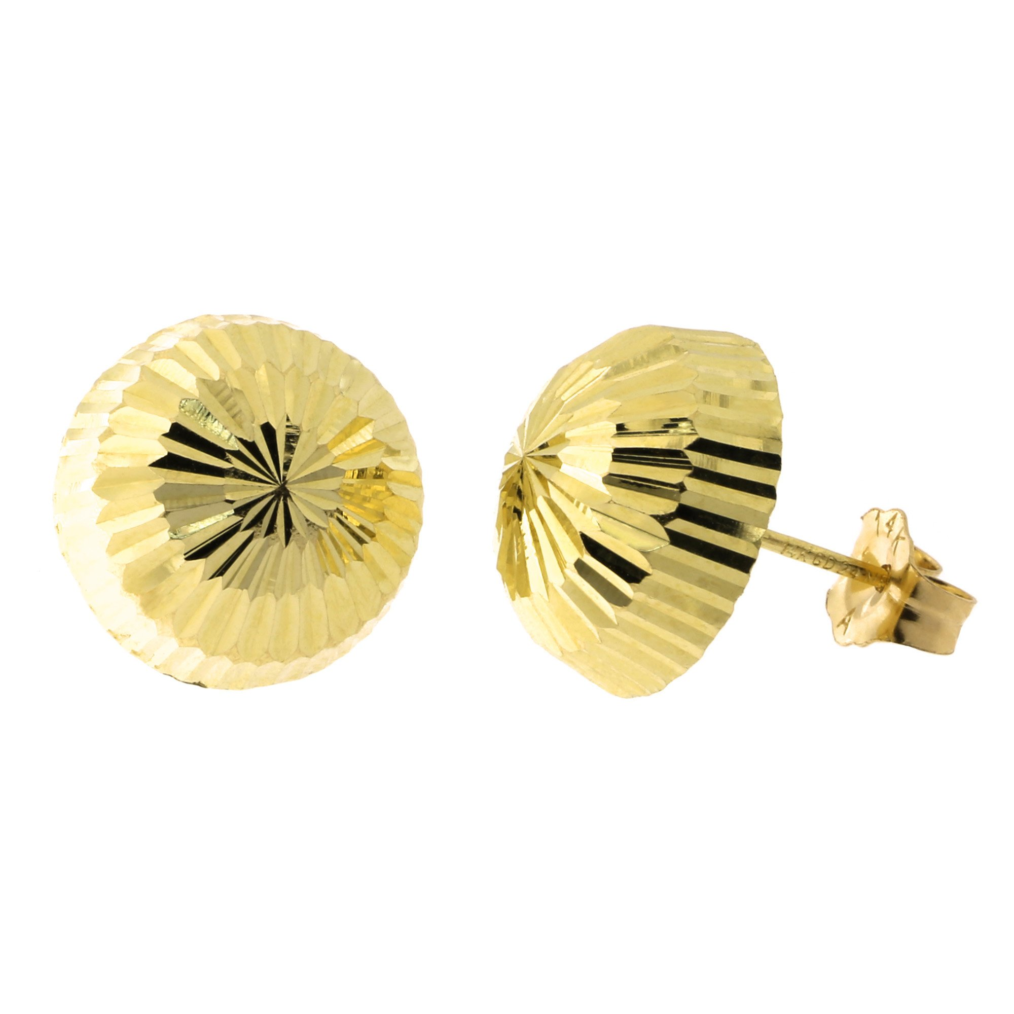 14k Yellow Gold Diamond Cut Half Ball Stud Earrings, 10mm