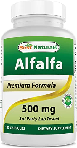 Best Naturals Alfalfa Green Super Food 500 mg 180 Capsules
