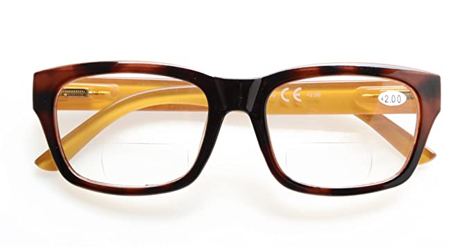 4712b21283 Mens Polycarbonate Large Lens Nearly Invisible Line Bifocal Glasses Readers  Bifocal For Men Brown 1.0