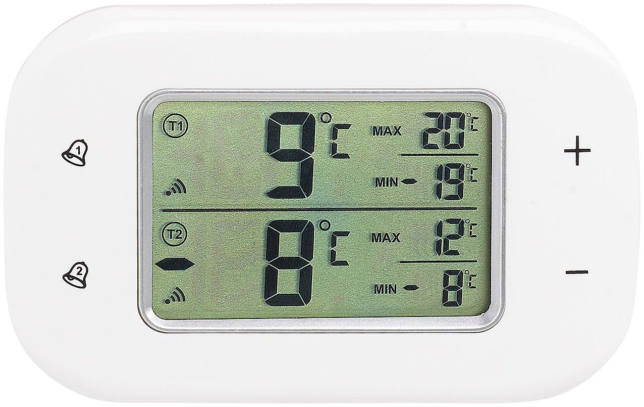 Rosenstein & Söhne Kühlschrankthermometer: Digitales Kühl- & Gefrierschrank-Thermometer, 2 Funk-Sensoren, weiß (Gefrierschrankthermometer)
