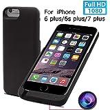SeiTang iPhone 6 / 6s / 7 plus 5.5インチ用バッテリー内臓ケースモバイルバッテリー型ビデオカメラ動体検知機能付きスパイカメラ 内臓8GB (ブラック 5.5インチ)