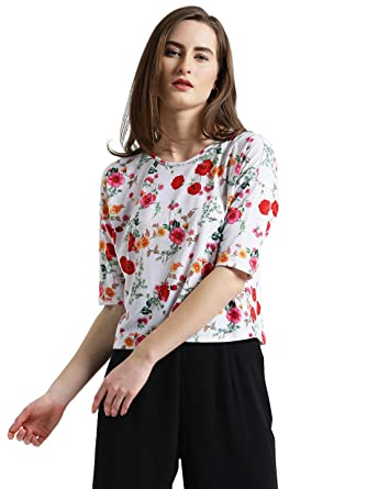 cd17d09e13c Zink London White Floral Printed Crop Top for Women (X-Large ...