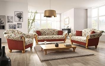 Landhaus Couchgarnitur landhaus sofa garnitur locarno 3 2 1 mit holzchatose landhausstil
