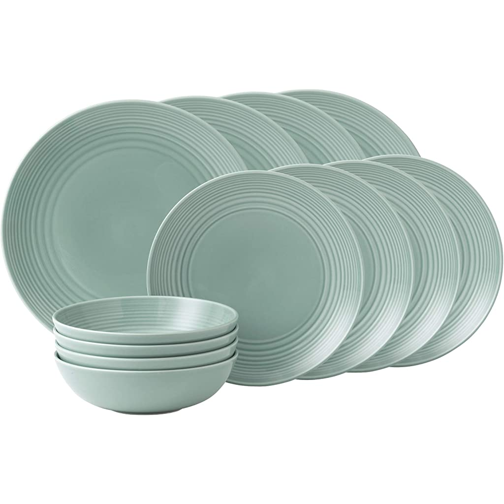 Royal Doulton Teal Stoneware Set of 12 Plates & Bowls