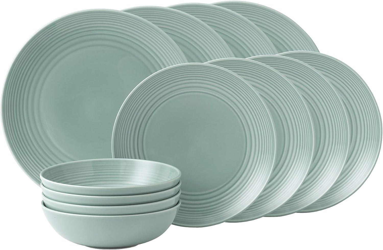 Royal Doulton Teal Stoneware Set Of 12 Plates Amp Bowls