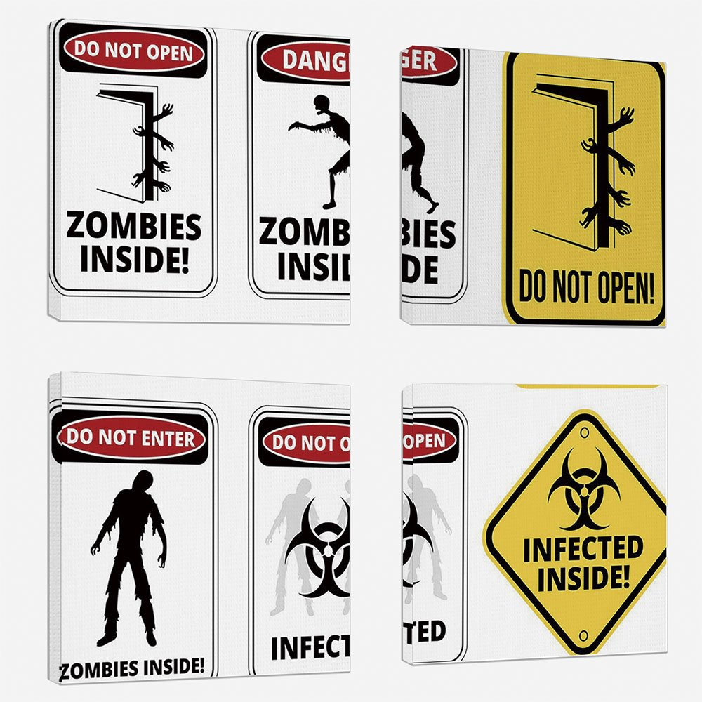 4 Pcs/set Modern Painting Canvas Prints Wall Art For Home Decoration Zombie Decor Print On Canvas Giclee Artwork For Wall DecorWarning Signs for Evil Creatures Paranormal Construction Do Not Open Artw