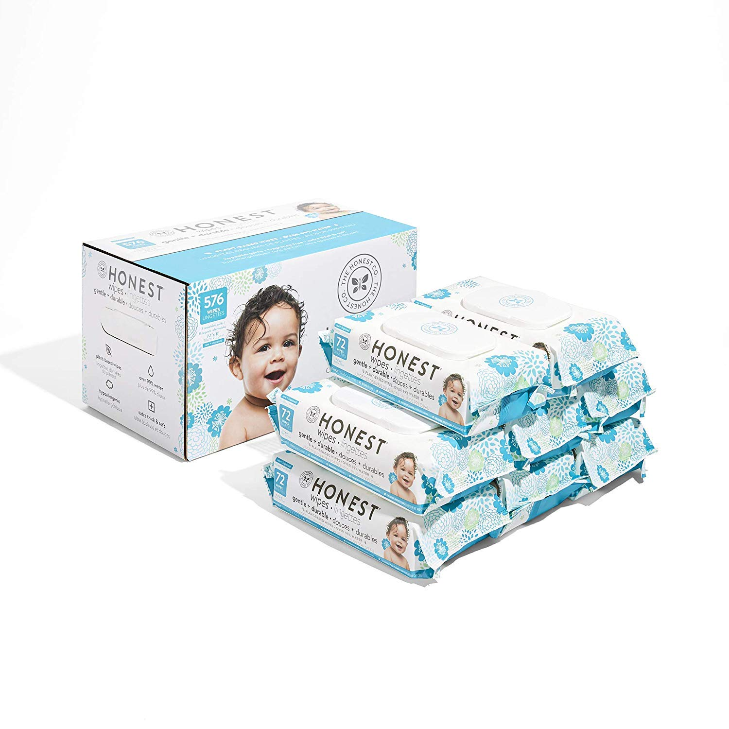 The Honest Company Baby Wipes - Pure and Gentle | Plant-Based | Alcohol, Fragrance and Paraben Free | Hypoallergenic Honest Wipes | 576 Count by The Honest Company