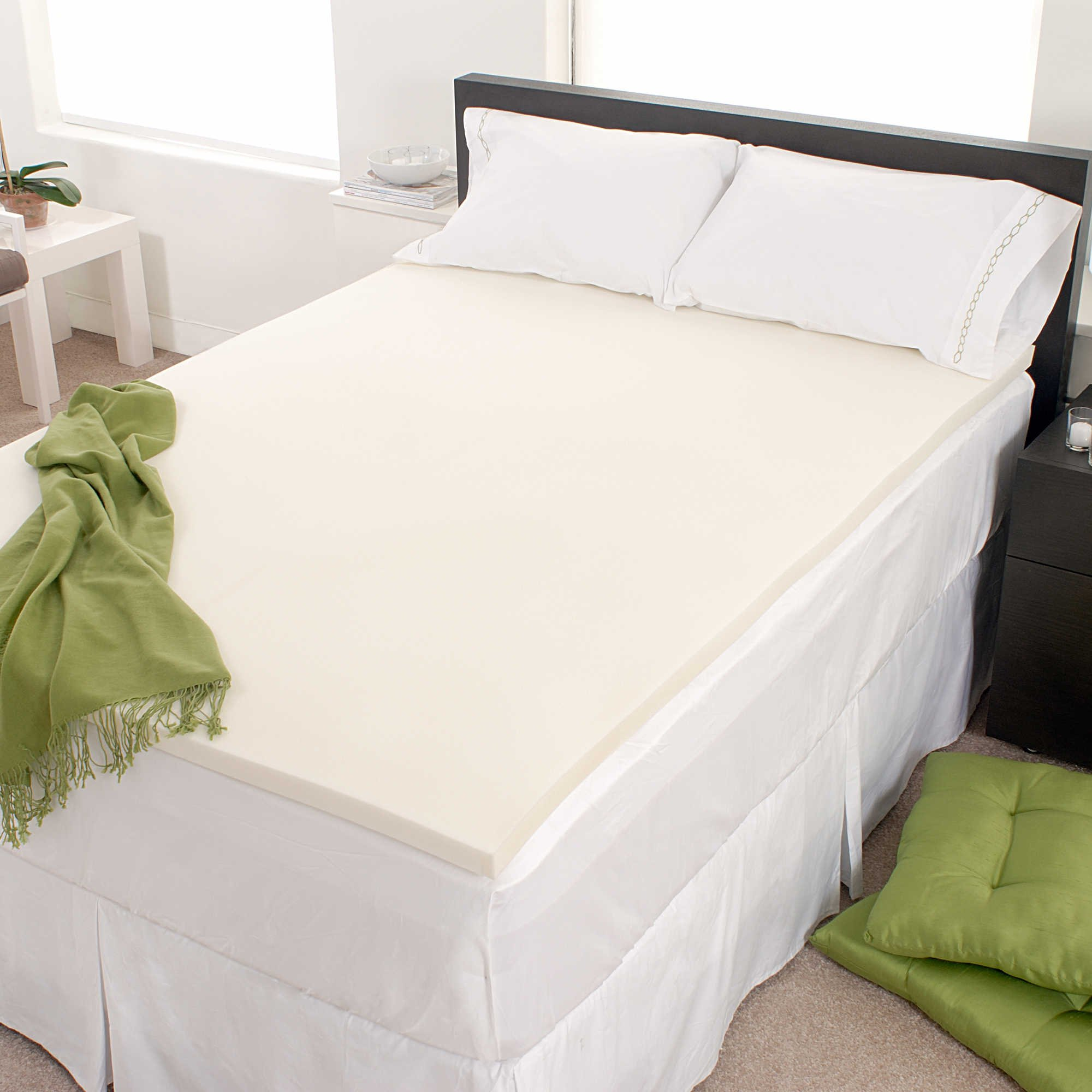 FoamRush 4'' Thick Short Queen Size Memory Foam Pad Mattress Topper Made in USA