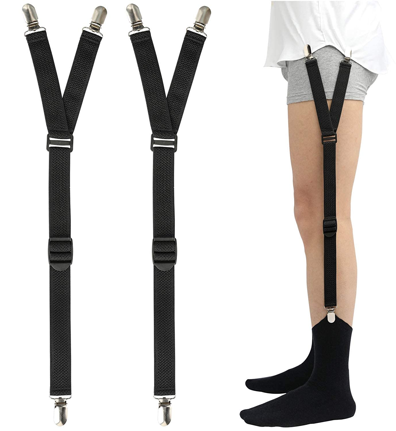 Shirt Stays Adjustable Soft and Smooth Elastic with Non Slip Clips Perfect Sock Garters for Military or Professional