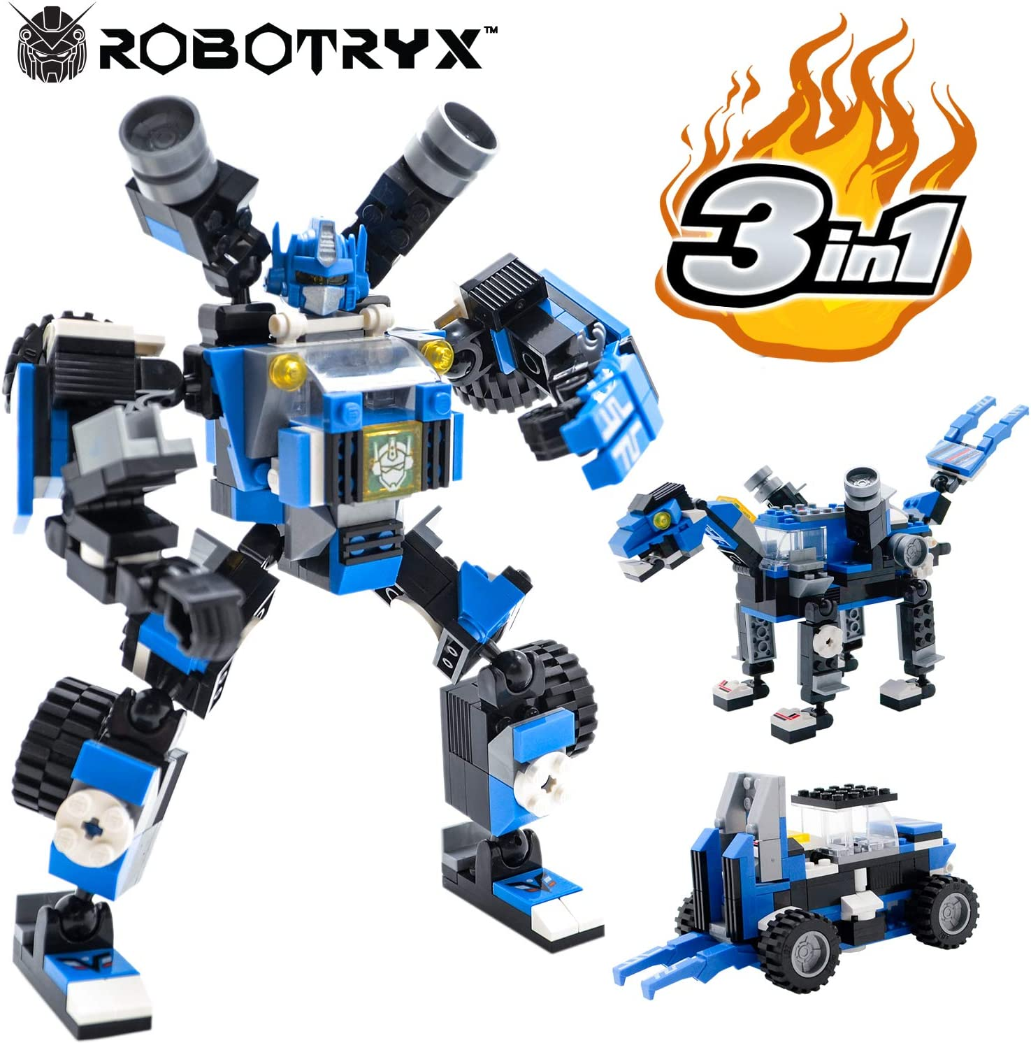 JITTERYGIT Robot STEM Toy Figure   3 in 1 Fun Creative Set   Construction Building Toys for Boys and Girls Ages 6-14 Years Old   Best Toy Gift for Kids   Free Poster Kit Included
