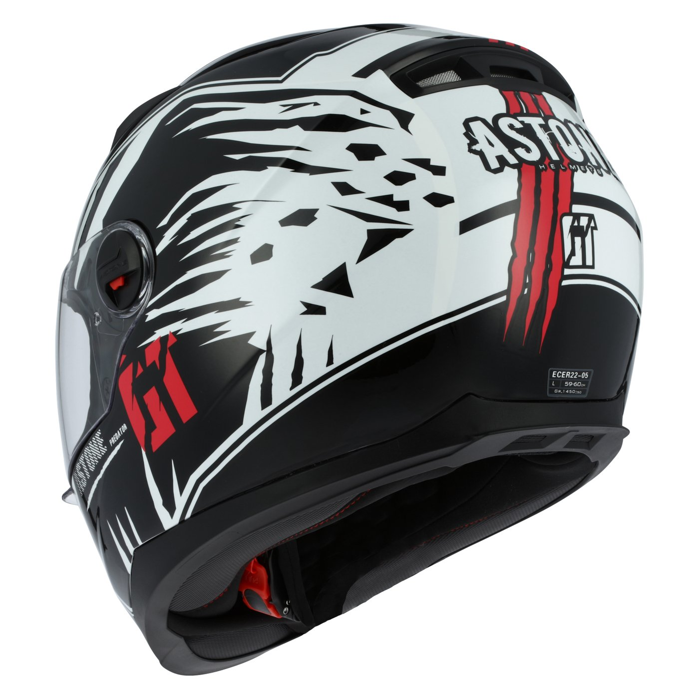 Amazon.es: Astone Helmets gt2g-predator-bwxl casco Moto Integral GT, color negro/blanco, talla XL