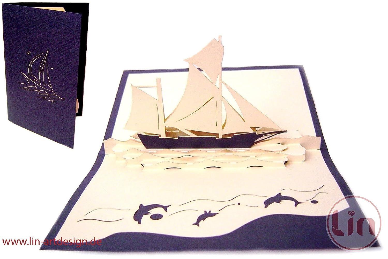 LIN Pop Up 3d biglietti di auguri Biglietti di auguri Biglietti di compleanno nave, buono viaggio barca a vela LIN ArtDesign 104