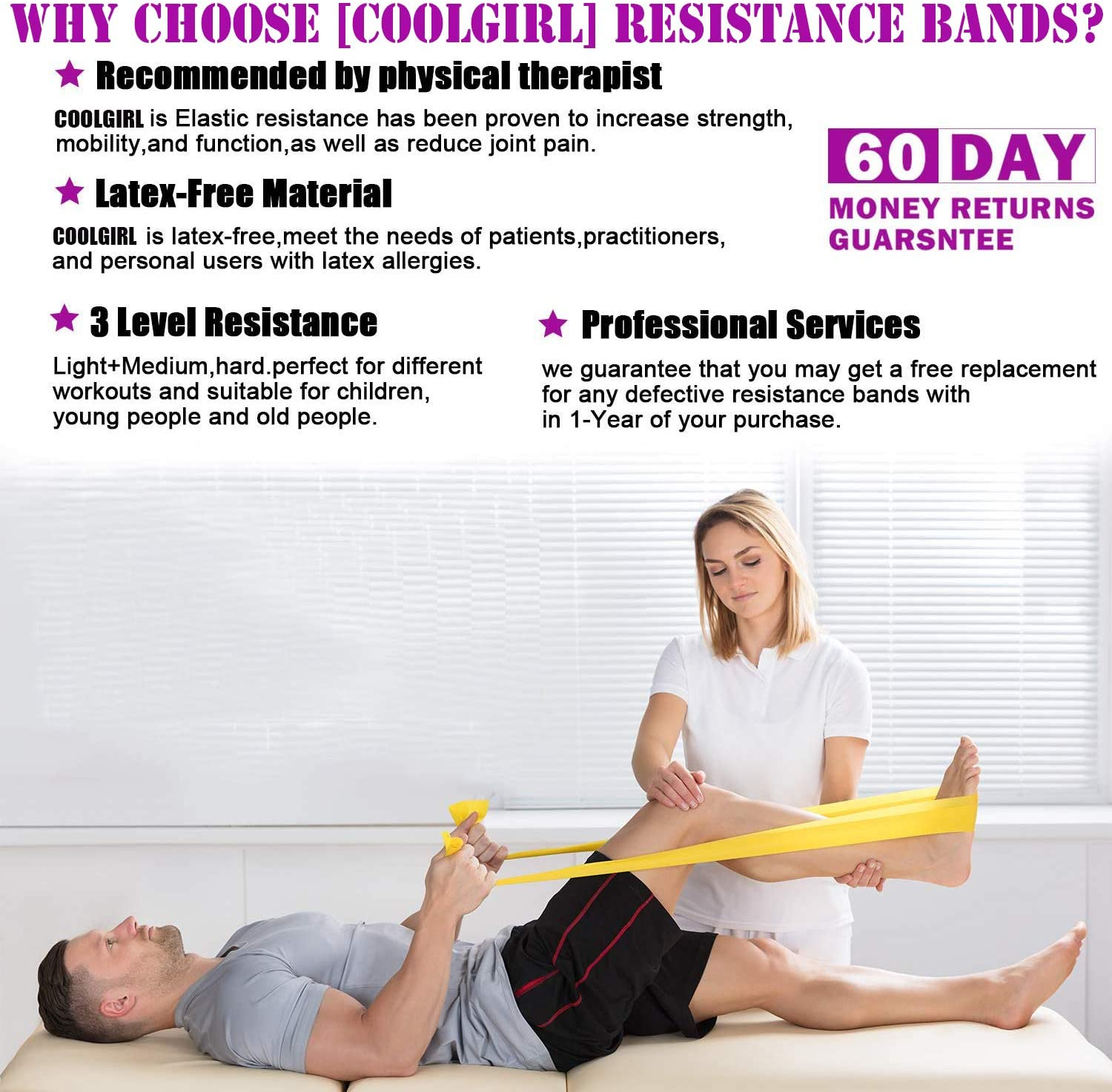 Resistance Bands for Legs Butt Arms Shoulder Yoga Pilates Physical Therapy EXERCISE RESISTANCE BAND LATEX FREE Workout Stretch Bands for Men Women Seniors Kids Exercises Chart 6.5ft