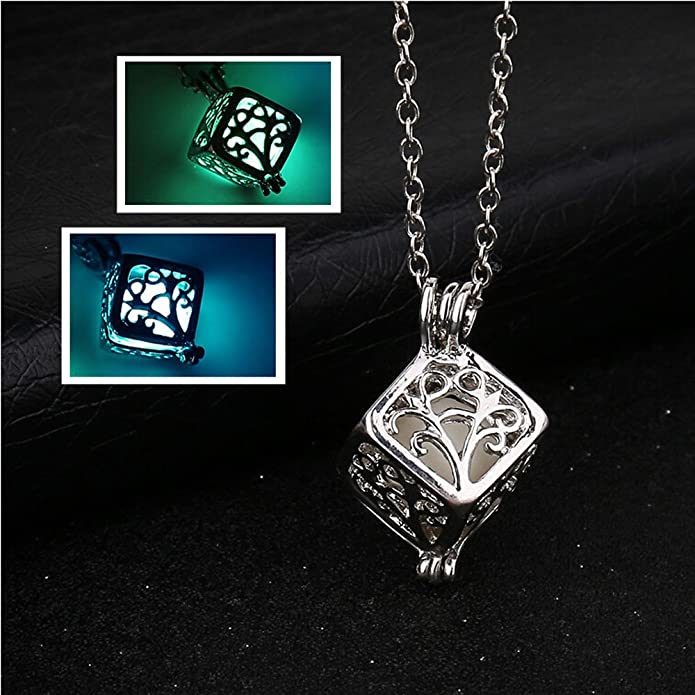 5e203a4b66892d Amazon.com: Gbell Women Retro Tree Life Cube Pendant Necklace Glow in The  Dark - Hollow Neck Chain Necklaces Jewelry Charm Birthday Valentine Gift  Girls ...