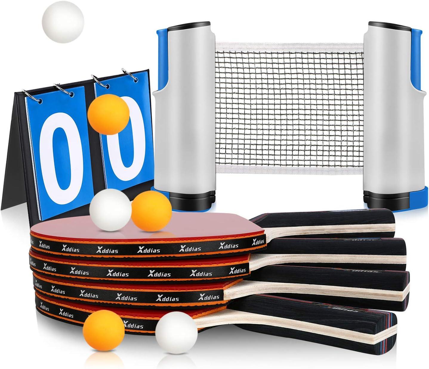 XDDIAS Raquetas de Tenis de Mesa, 4 Raquetas + Red Retráctil + Tarjeta de Puntuación + 6 Bolas Conjunto de Pingpong Set Portátil para Interior al Aire Libre Regalo