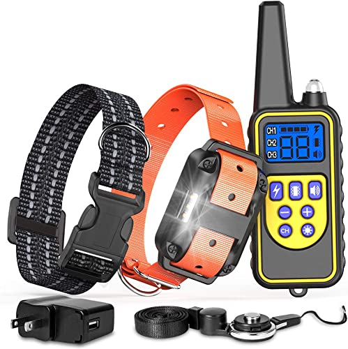 FunniPets Dog Training Collar with Remote, Waterproof Dog Shock Collar 2600ft Control Range Rechargeable Shock Collar for Medium and Large Dogs with 4 Training Modes Light Beep Vibration Static Shock
