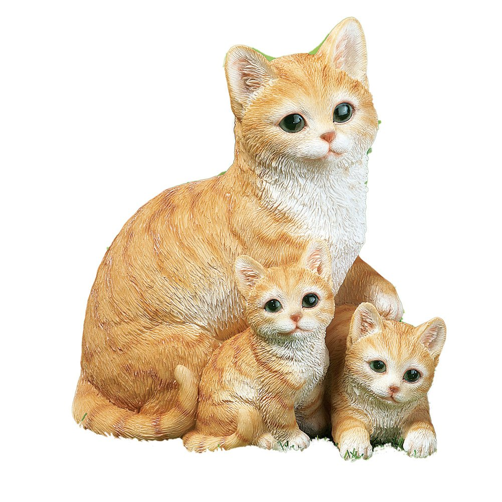 Mama Cat And Kittens Cute Garden Statue, Orange
