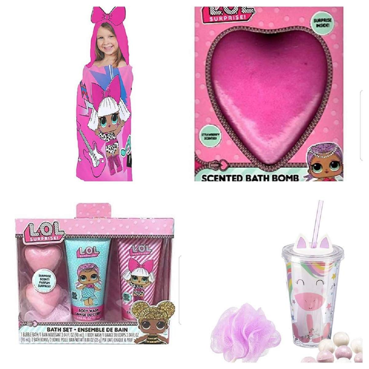 Surprise LOL Hooded Towel, Bath Set, Bath Bomb (Color Will Vary) and Unicorn Bath Tumbler