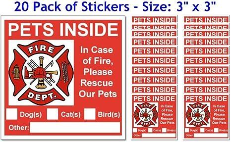 Amazon.com: 20 Pets dentro Rojo Alerta de seguridad ventana ...