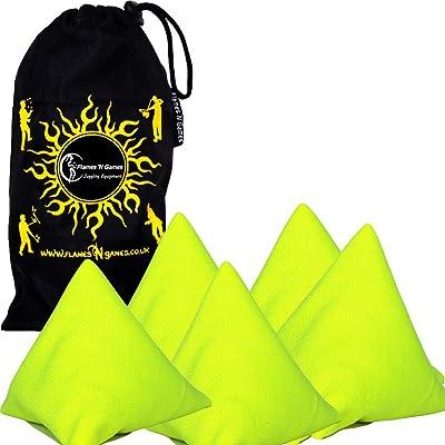 5x Tri-It balles de jonglage - Lot de 5 Pyramide Jonglerie Sacks (Jaune) sacs de haricots pour enfants & adultes + Tissu Sac de Voyage.