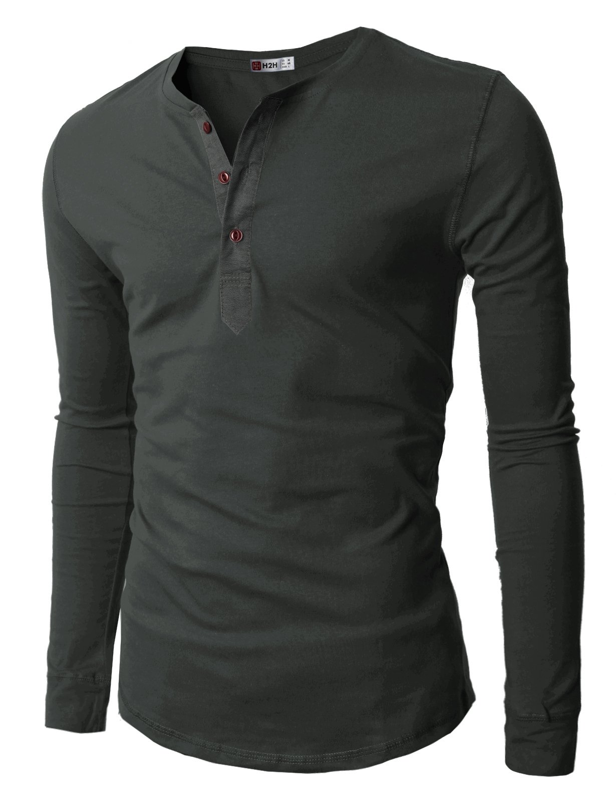 H2H Mens Henley T-shirts with Long Sleeve, Charcoal, US M (Asia L)
