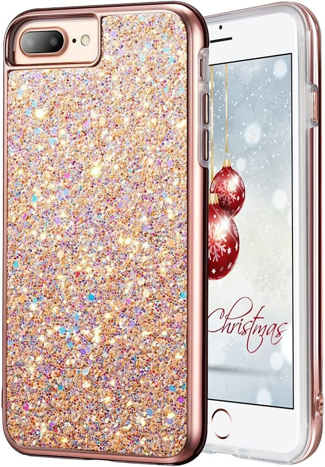 iPhone 7 Plus Glitter Case, iPhone 8 Plus Case, MIRACASE Glitter Bling Soft TPU Inner Shockproof Hard PC Cover Protective Case for Apple iPhone 8 Plus /7 Plus/ 6 Plus/6S Plus (5.5