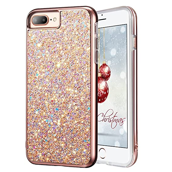 rivenditore online 12033 c6a1e iPhone 7 Plus Glitter Case, iPhone 8 Plus Case, MIRACASE Glitter Bling Soft  TPU Inner Shockproof Hard PC Cover Protective Case for Apple iPhone 8 Plus  ...