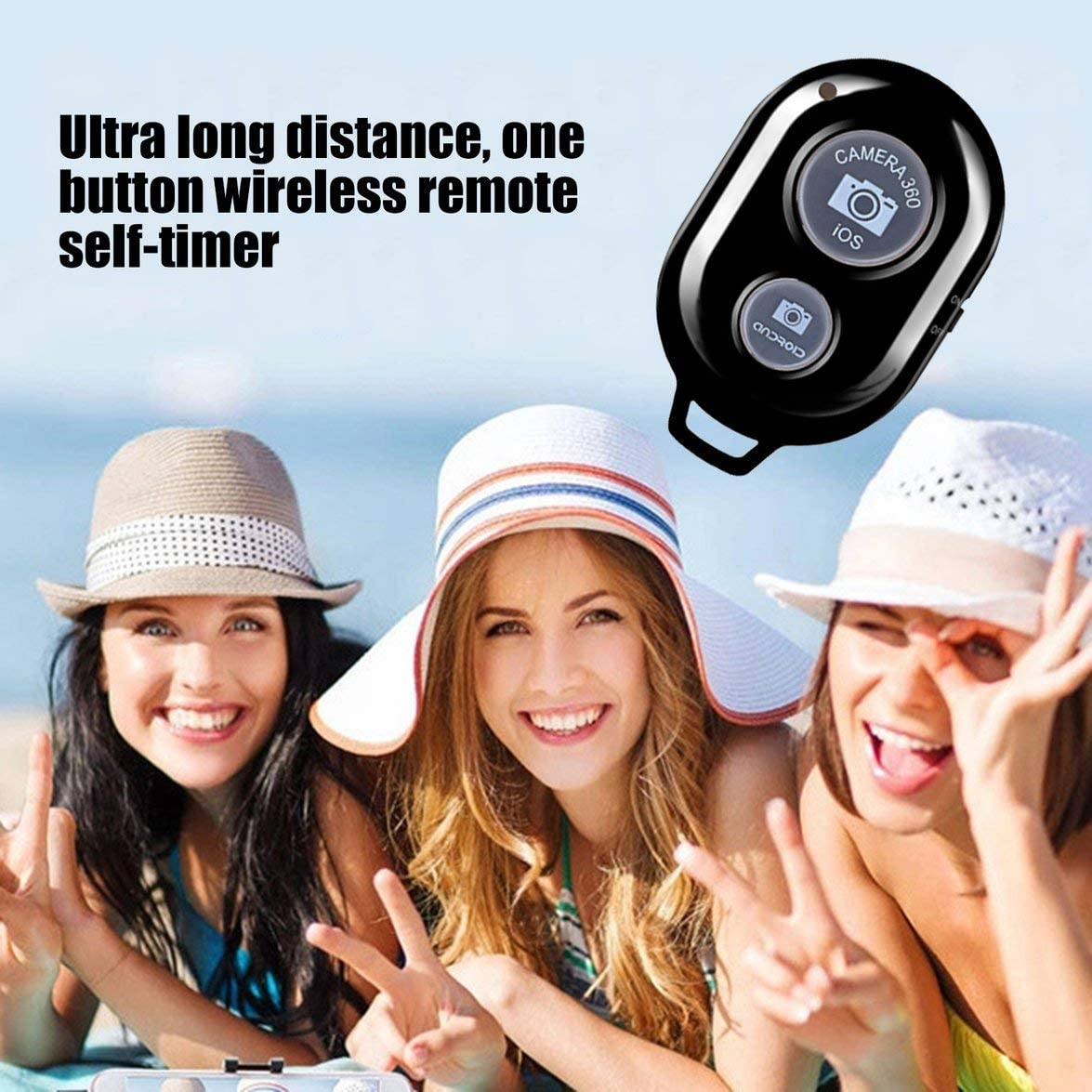 Remote Control Camera Selfie Shutter Stick for iPhone Android Windows Camera Remote Controller Self-Timer Black