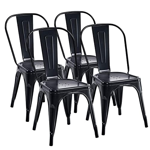 Trustiwood Set of 4 Industrial Metal Dining Chairs Stackable Design Stools Indoor-Outdoor Use Chic Tolix for Kitchen,Dining,Bistro,Cafe Side Metal Chairs Black