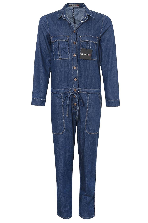f936001391c1 shelikes Womens Denim Boiler Suit Ladies Jumpsuit Blue Size 6-14 Boilersuit- Denim-UK 12  Amazon.co.uk  Clothing